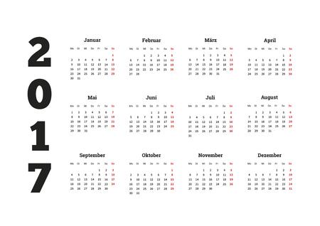 2017 year simple calendar on german language, isolated on white Illustration