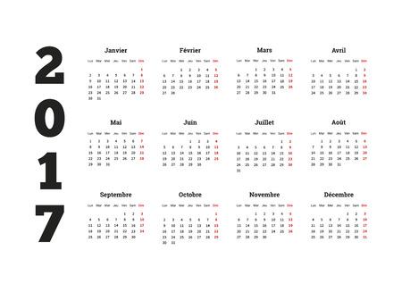2017 año calendario simple en idioma francés, aislado en blanco Foto de archivo - 59916425