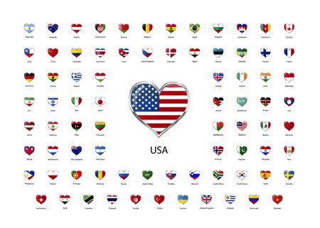 sovereign: Set of heart shaped glossy icons with metallic border of flags of world sovereign states Illustration