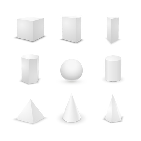 primitives: Set of nine basic elementary geometric shapes, blank 3d primitives isolated on white