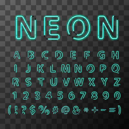 Bright realistic neon letters, full latin alphabet on transparent background