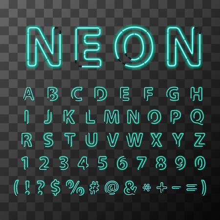 Letras de neón realista brillante, llena alfabeto latino en el fondo transparente Foto de archivo - 59918341