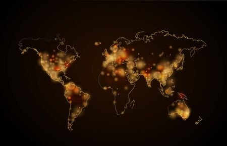 luminary: Bright night light in the cities on planet, world map view from space