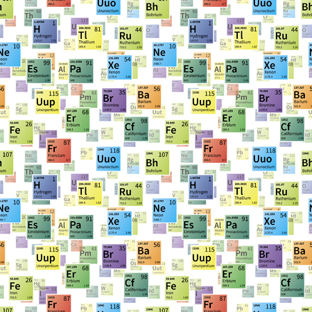 Bright colorful icons of chemical elements on white, seamless pattern Illustration