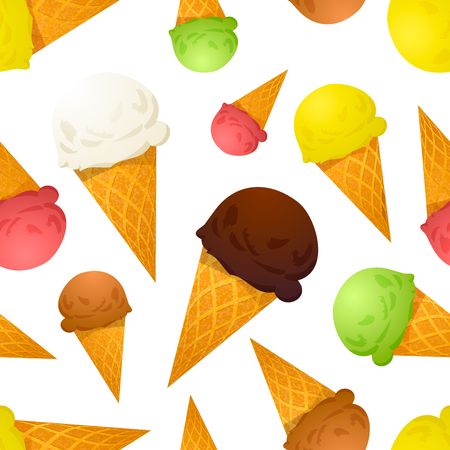tastes: Bright colorful ice cream cones different tastes on white, seamless pattern