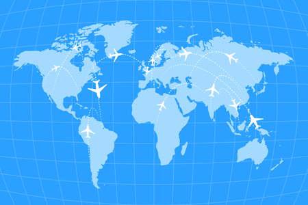 flightpath: Airline routes on worldwide map, blue and white infographic illustration Illustration
