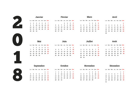 2018 year simple calendar on french language, isolated on white