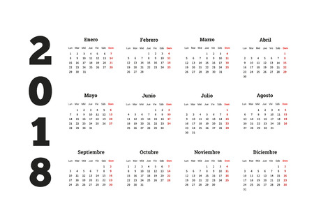 2018 year simple calendar in spanish, isolated on white