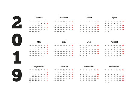 2019 año calendario simple en idioma alemán, aislado en blanco Foto de archivo - 59921772