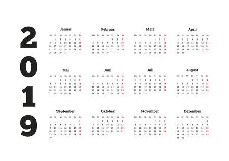 2019 year simple calendar on german language, isolated on white Stock Illustratie