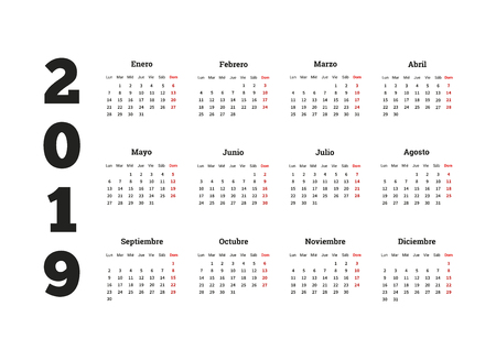 2019 year simple calendar in spanish, isolated on white