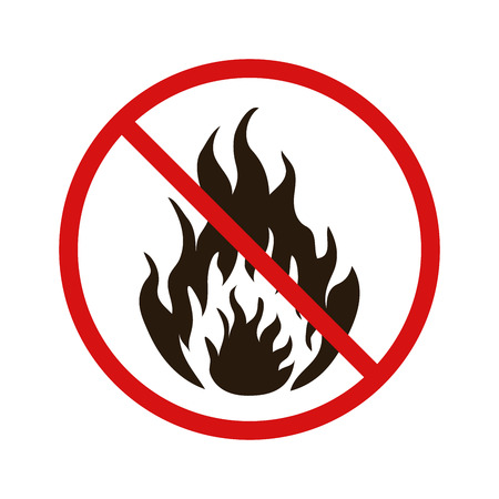 burnable: No fire forbidden sign isolated on white