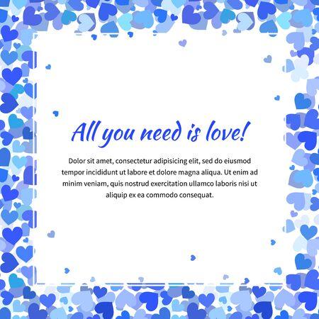 corazones azules: Modelo lindo con muchos corazones azules y espacio de texto, ilustración plaza