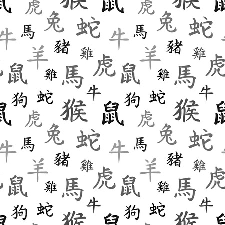 snake calligraphy: Chinese zodiac symbols, black hieroglyphs on white, seamless pattern