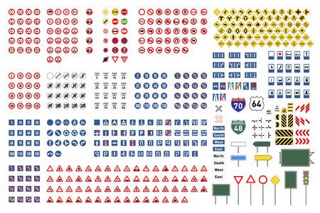Gran conjunto de señales internacionales de carretera aislado en blanco Ilustración de vector