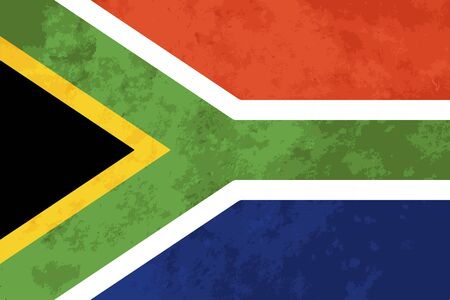 True proportions South Africa flag with grunge texture Illustration
