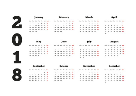 Calendar on 2018 year with week starting from monday, A4 horizontal sheet Ilustração