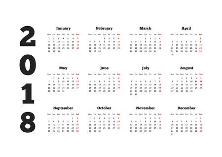 Calendario de 2018 años con la semana a partir del lunes, horizontales en hojas A4