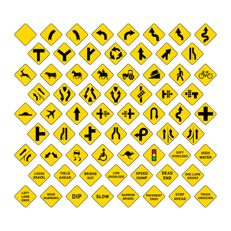 danger ahead: Big set of yellow road signs isolated on white