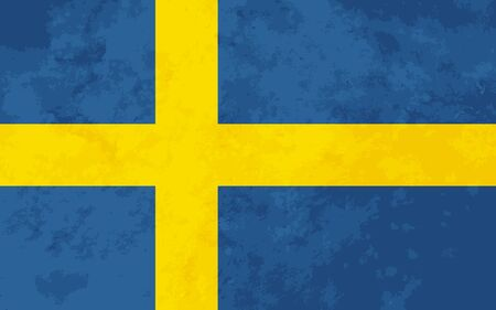 proportions: True proportions Sweden flag with grunge texture Illustration