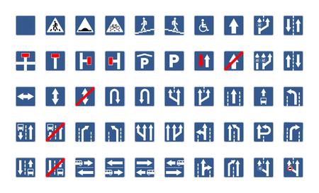 Grote reeks blauwe vierkante verkeersteken die op wit worden geïsoleerd