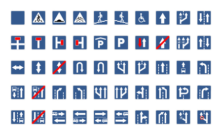 Big set of blue square road signs isolated on white Illustration