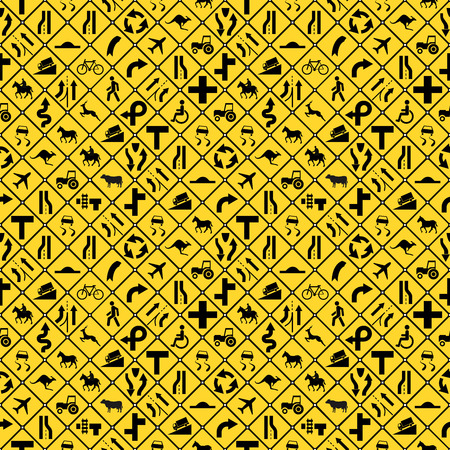 A lot of yellow road signs seamless pattern