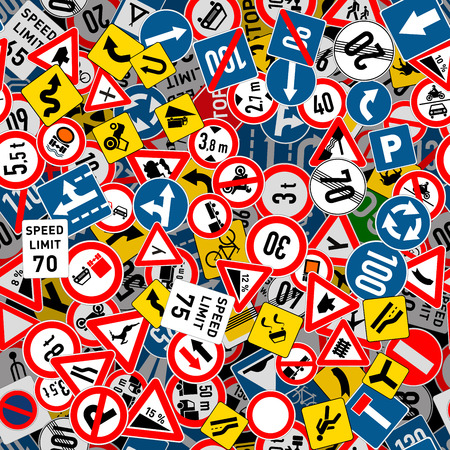 A lot of different road signs seamless pattern 向量圖像