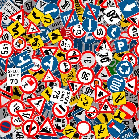 Veel verschillende verkeersborden naadloos patroon Vector Illustratie