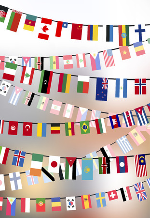 different countries: Different countries flags hangs on the ropes on blurred background