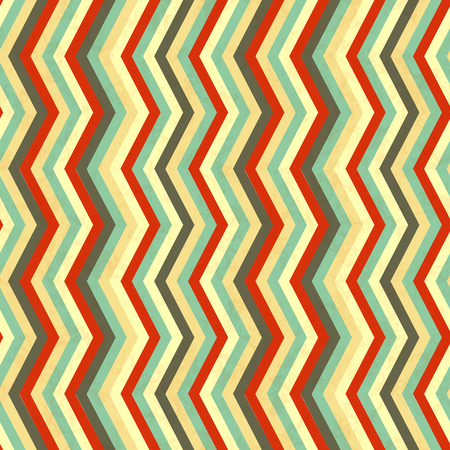 Zigzag stripes in retro colours, abstract seamless pattern