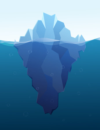 tip of iceberg: Big iceberg in the sea, concept flat illustration Illustration