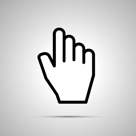 clic: White computer cursor in hand shape, simple icon with shadow