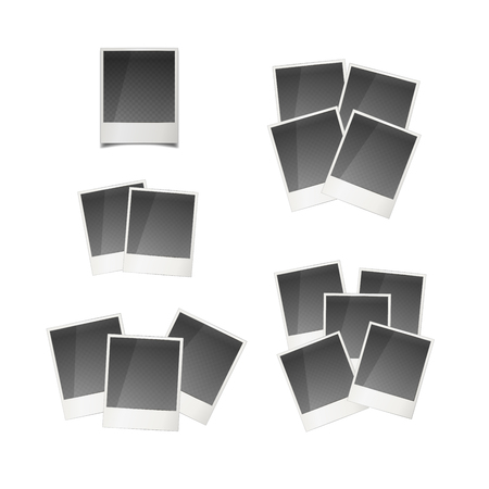 instant photo: Set of different retro instant photo cards isolated on white