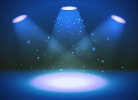 Bright empty scene with three spotlights on blue background