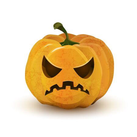 terrible: Cartoon halloween pumpkin with terrible face isolated on white