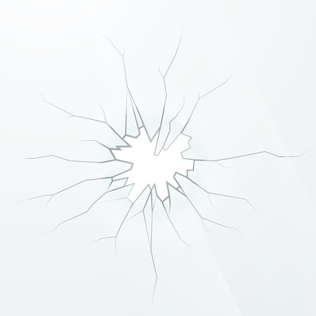 Realistic broken glass on a white background, square illustration Ilustração