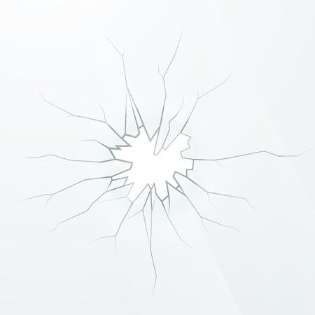 Realistic broken glass on a white background, square illustration Stock Illustratie