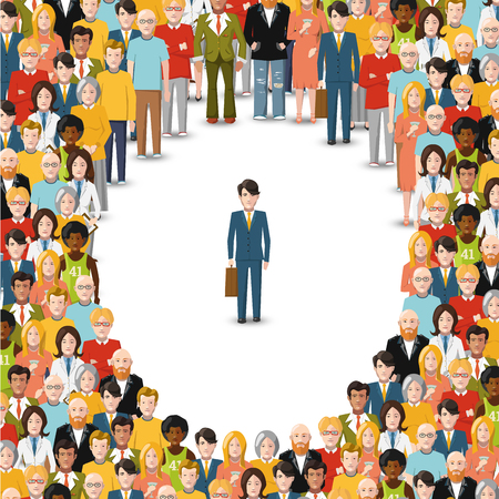 One man stayed in crowd, conceptual flat illustration