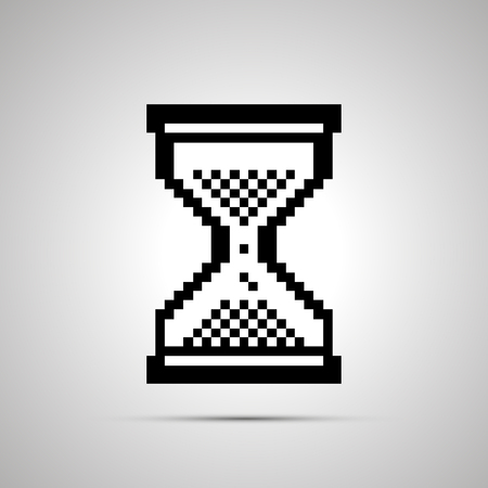 await: White pixelated computer cursor in hourglass shape, simple icon with shadow Illustration