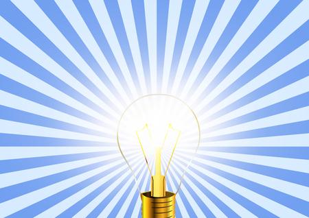 lighting bulb: Lighting bulb idea icon on striped retro background, conceptual illustration Illustration