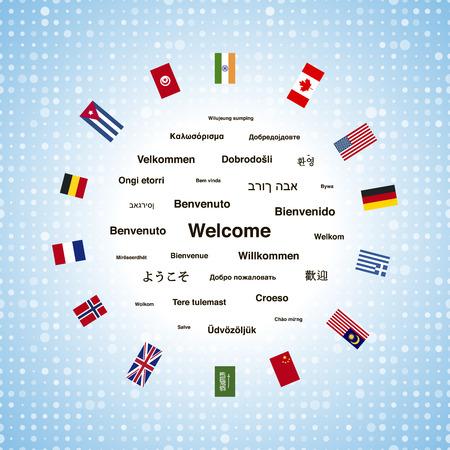 Black benvenuto frasi in diverse lingue del mondo e paesi bandiere, illustrazione piazza