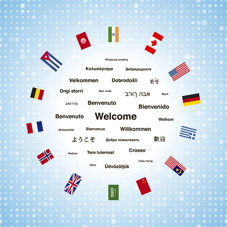 Black welcome phrases in different languages of the world and countries flags, square illustration