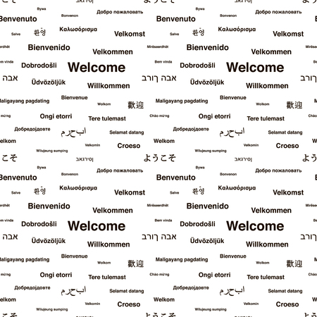 willkommen: Black welcome phrases in different languages of the world on white, seamless pattern