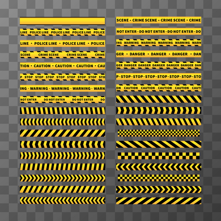 perimeter: Big set of different seamless yellow and black caution tapes on transparent background