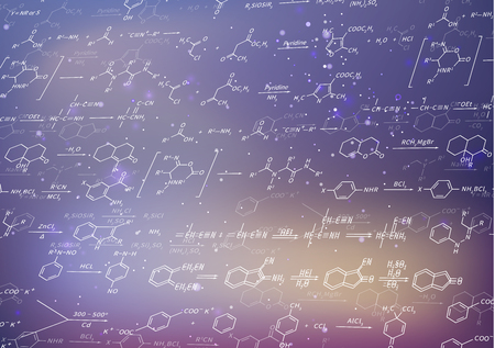 equations: A lot of recondite chemical equations and formulas on blurred purple background