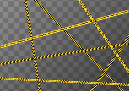 cordoned: A lot of different yellow and black caution tapes on transparent a4 background