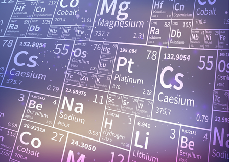 A lot of chemical elements from periodic table, white icons on blurred background 일러스트
