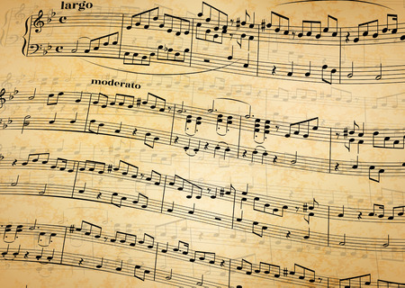 Music notes on stave, abstract old paper background