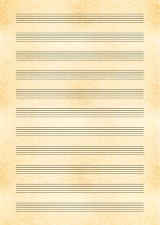 Vertical a4 size yellow sheet of old paper with music note stave Illustration